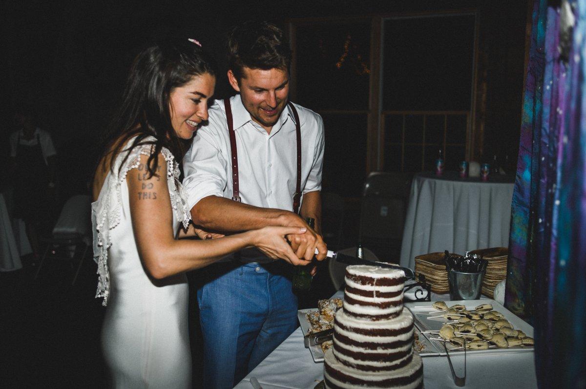 Camp Kieve Wedding Hannah and Zak Cake Cutting .jpg