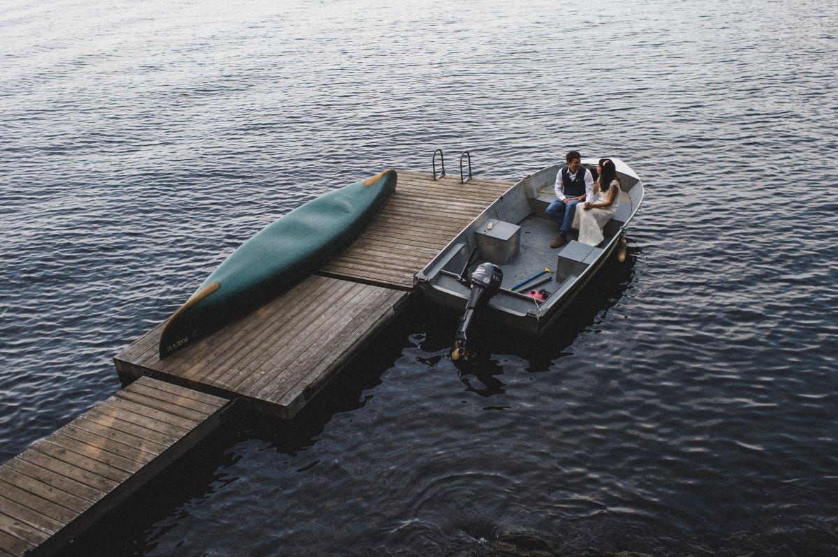 HannahandZak Camp Kieve Wedding Boat .jpg