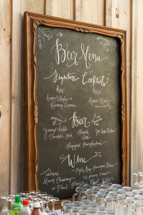 Granite Ridge Wedding Bar Menu Chalkboard