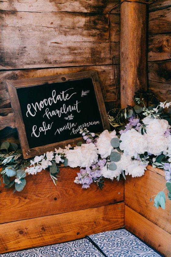 Sheela and Joe dessert and flowers sign