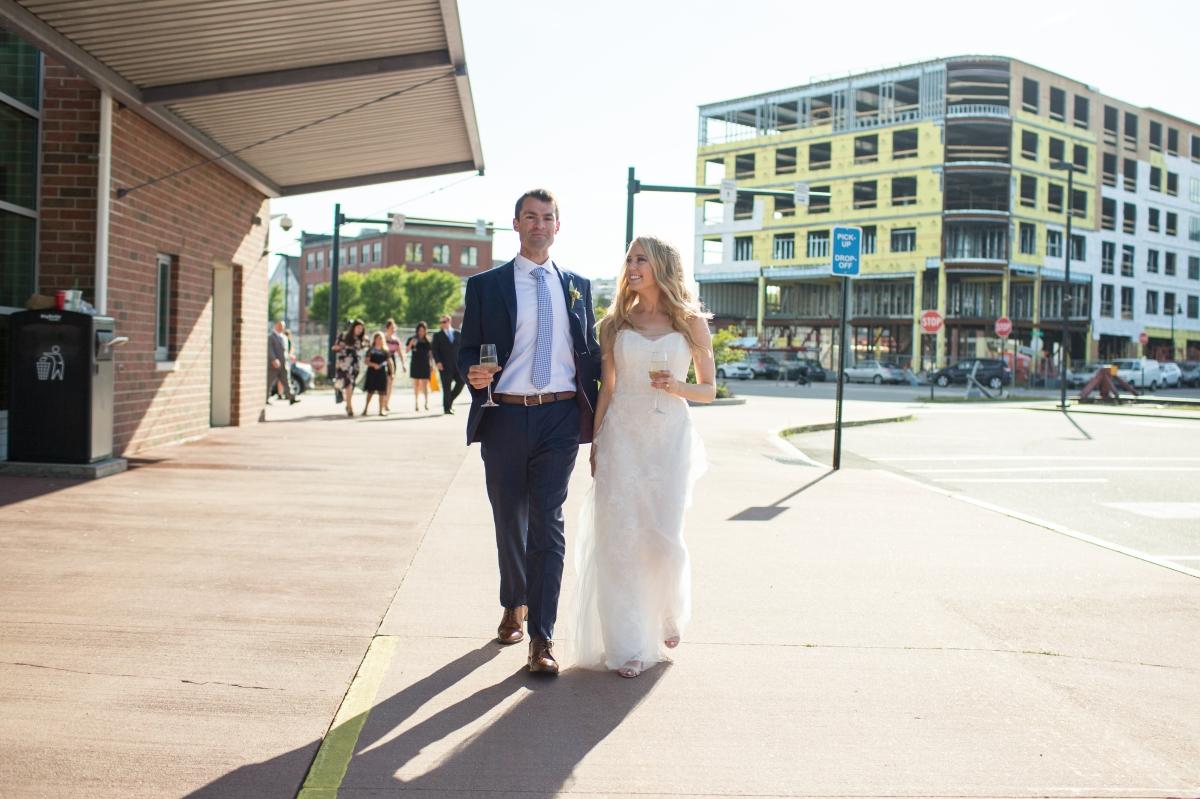 Ocean Gateway Wedding Bride and Groom Downtown