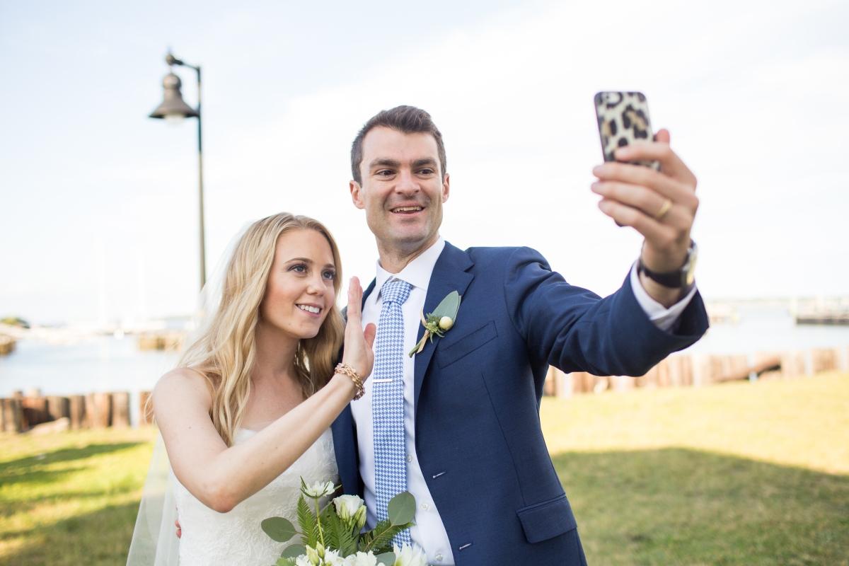 Ocean Gateway Wedding Bride and Groom Selfie