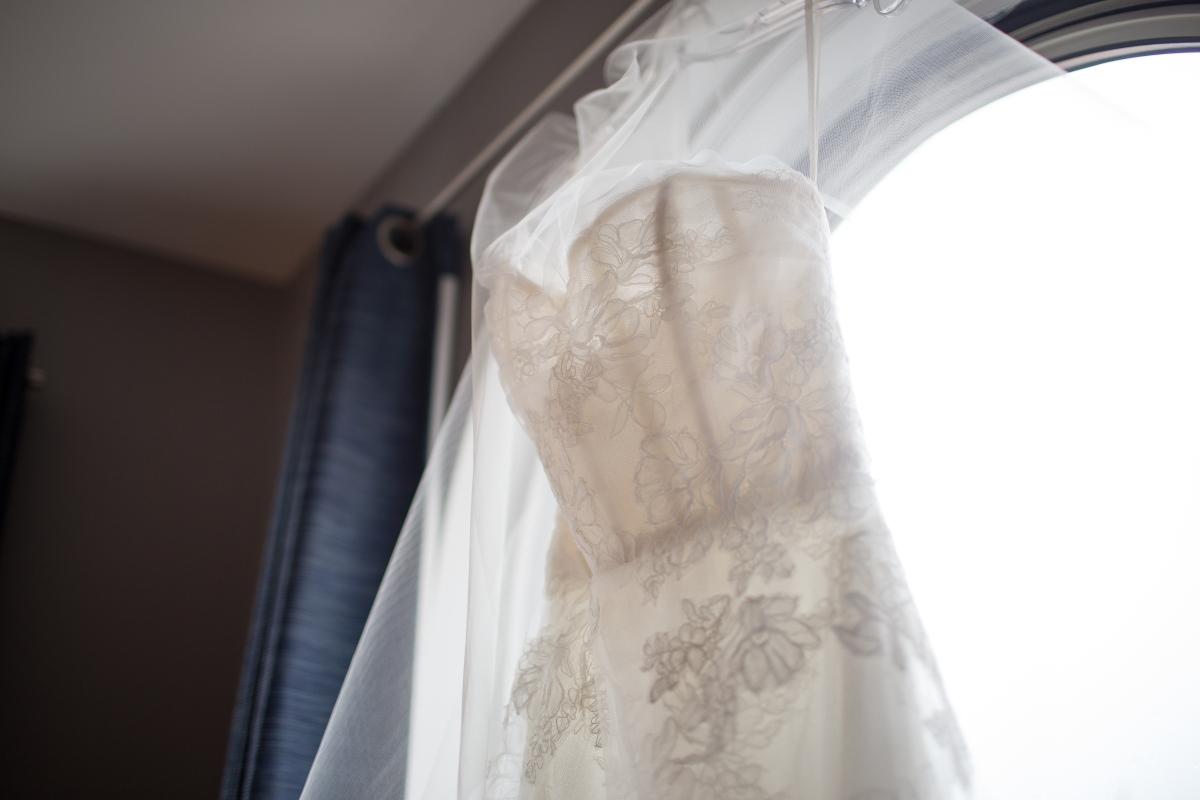 Ocean Gateway Wedding Bride Dress Closeup