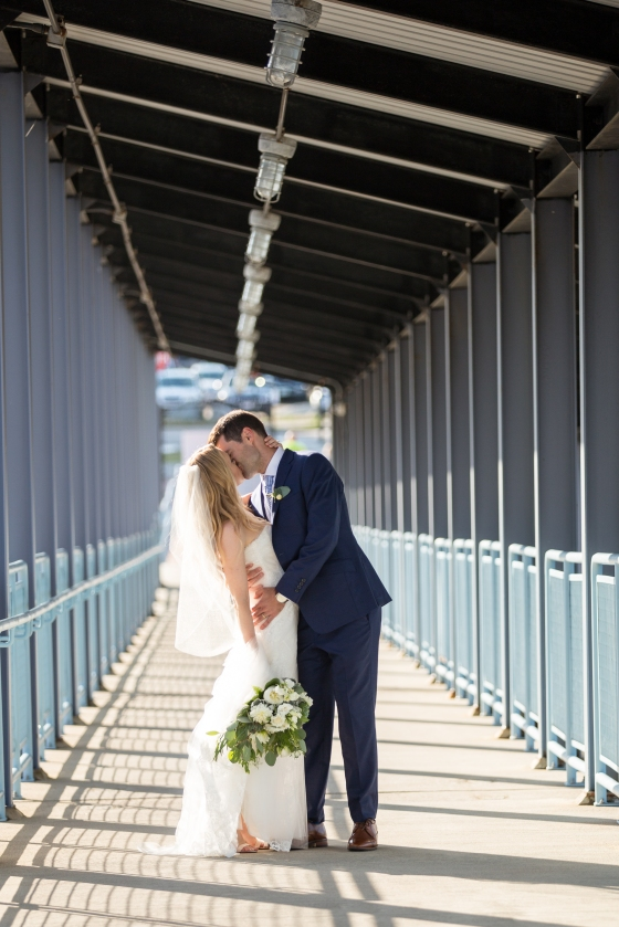 Ocean Gateway Wedding Bride Groom Kiss
