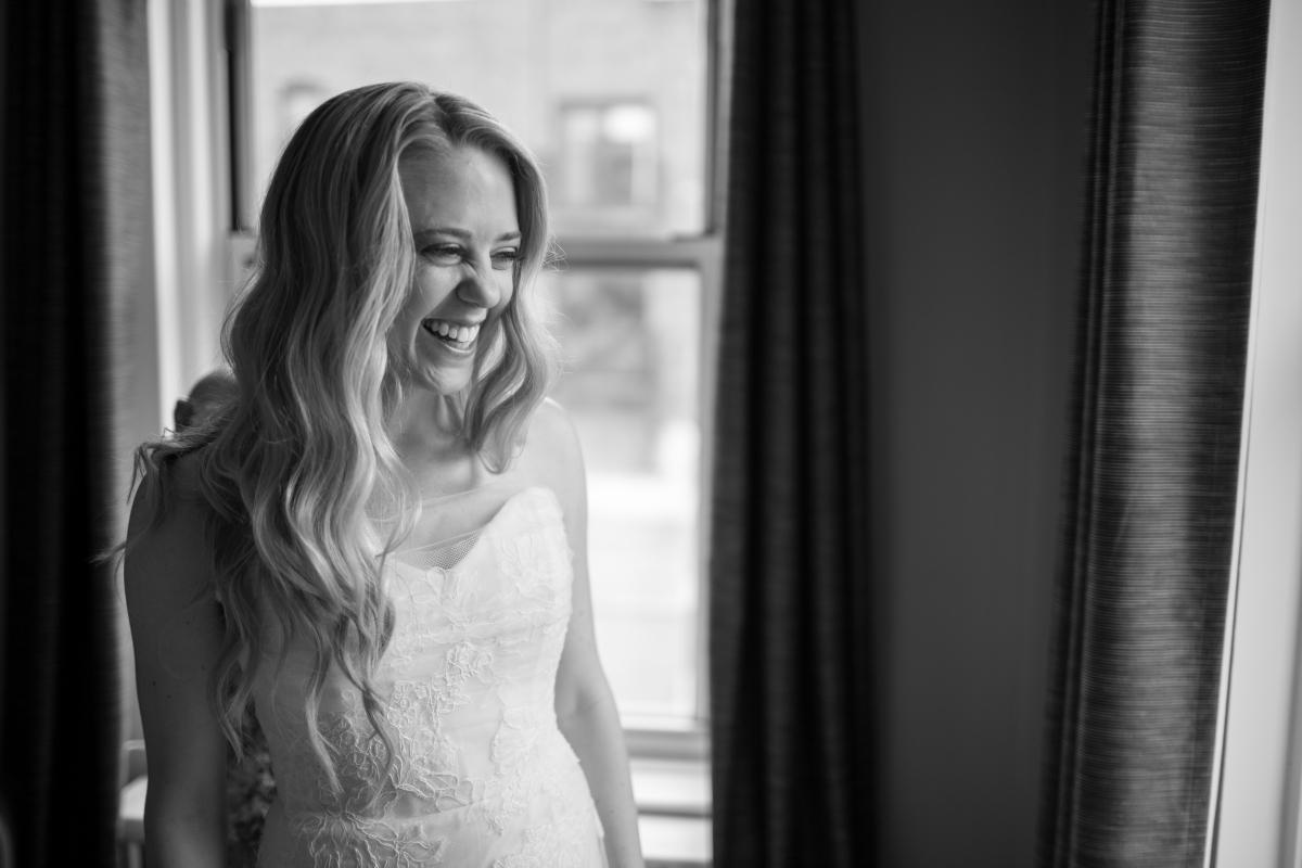Ocean Gateway Wedding Bride Laughing