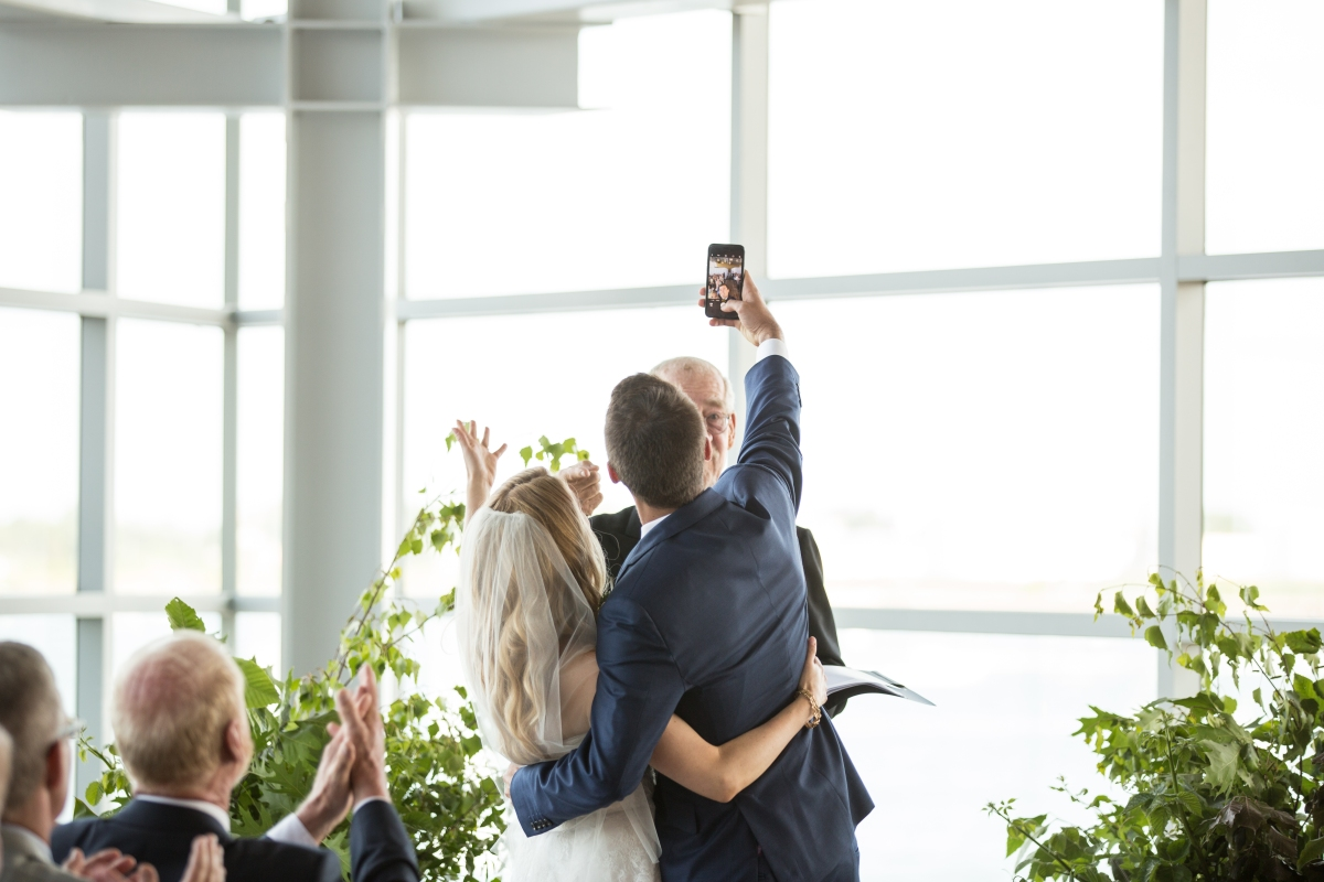 Ocean Gateway Wedding Ceremony Selfie