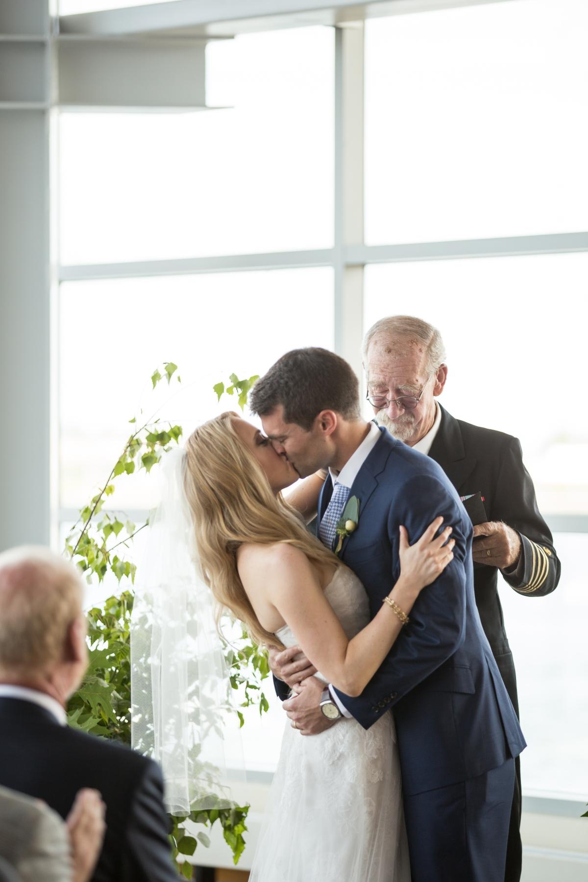 Ocean Gateway Wedding First Kiss