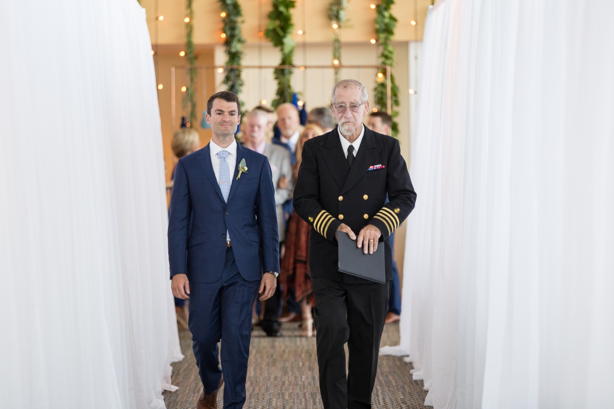 Ocean Gateway Wedding Groom and Officiant