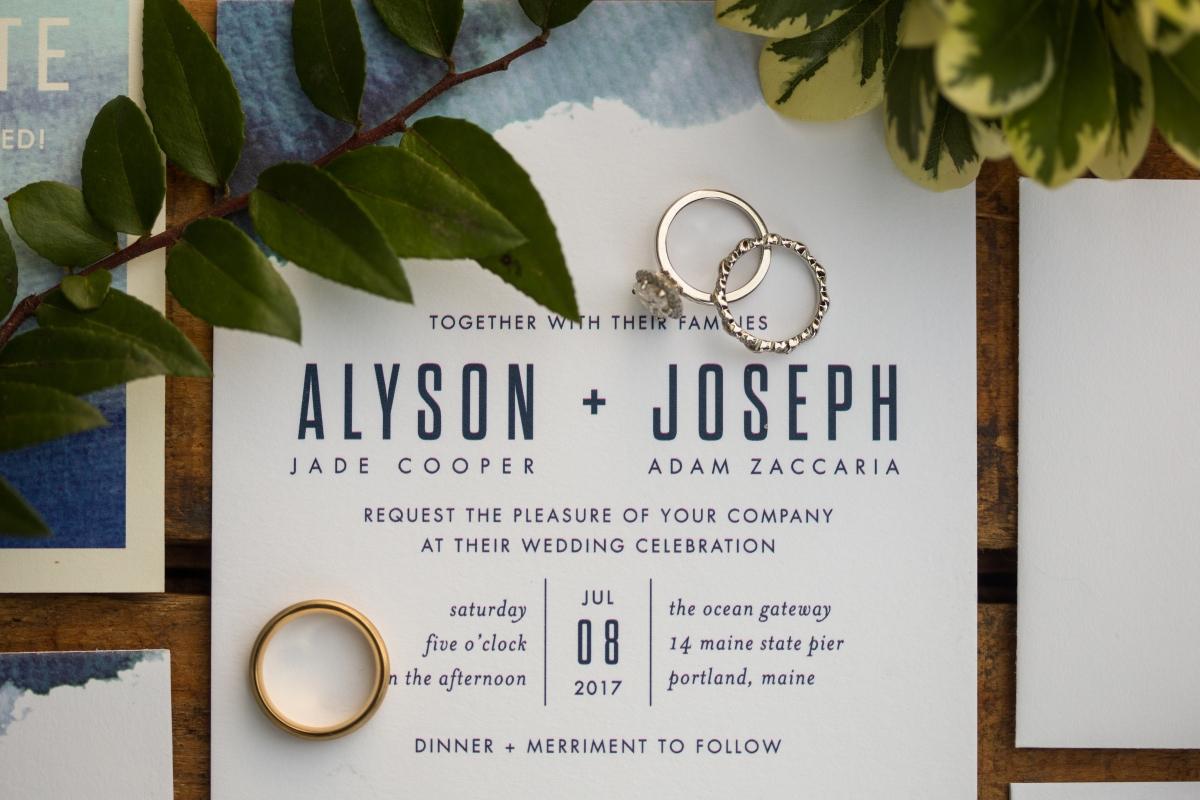 Ocean Gateway Wedding Invitation and Rings