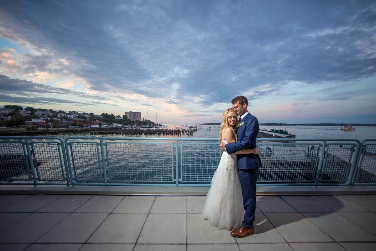 Ocean Gateway Wedding Sunset Embrace