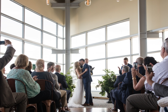 Ocean Gateway Wedding Wedding Ceremony First Kiss