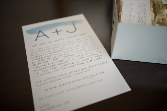 Ocean Gateway Wedding Welcome Note