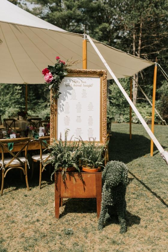 Escort card display at Hidden Pond wedding in Kennebunkport, Maine