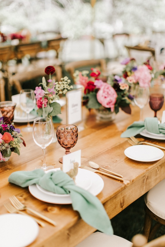 Rustic tablescape at Hidden Pond wedding in Kennebunkport, Maine
