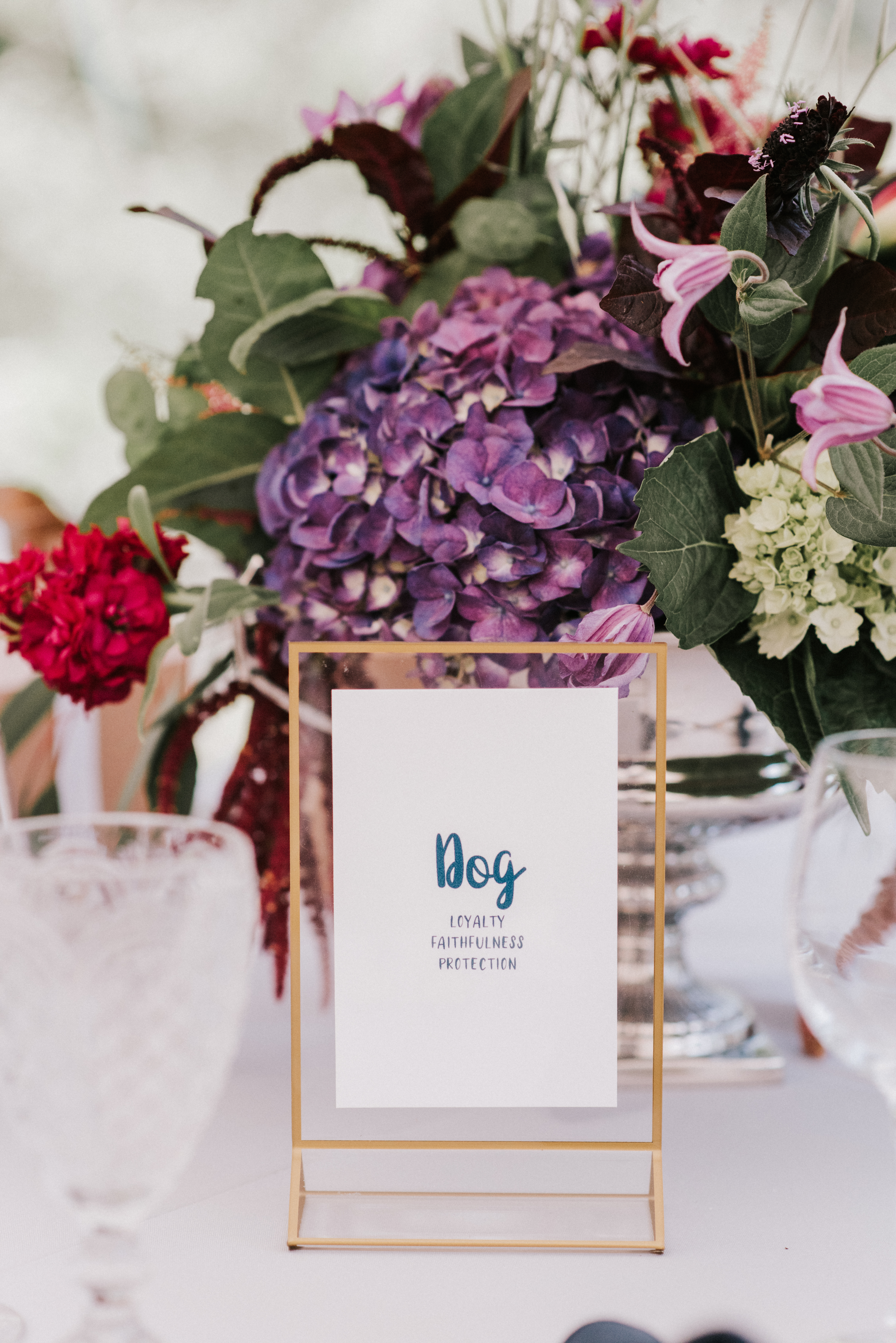 Animal table numbers at Hidden Pond wedding in Kennebunkport, Maine