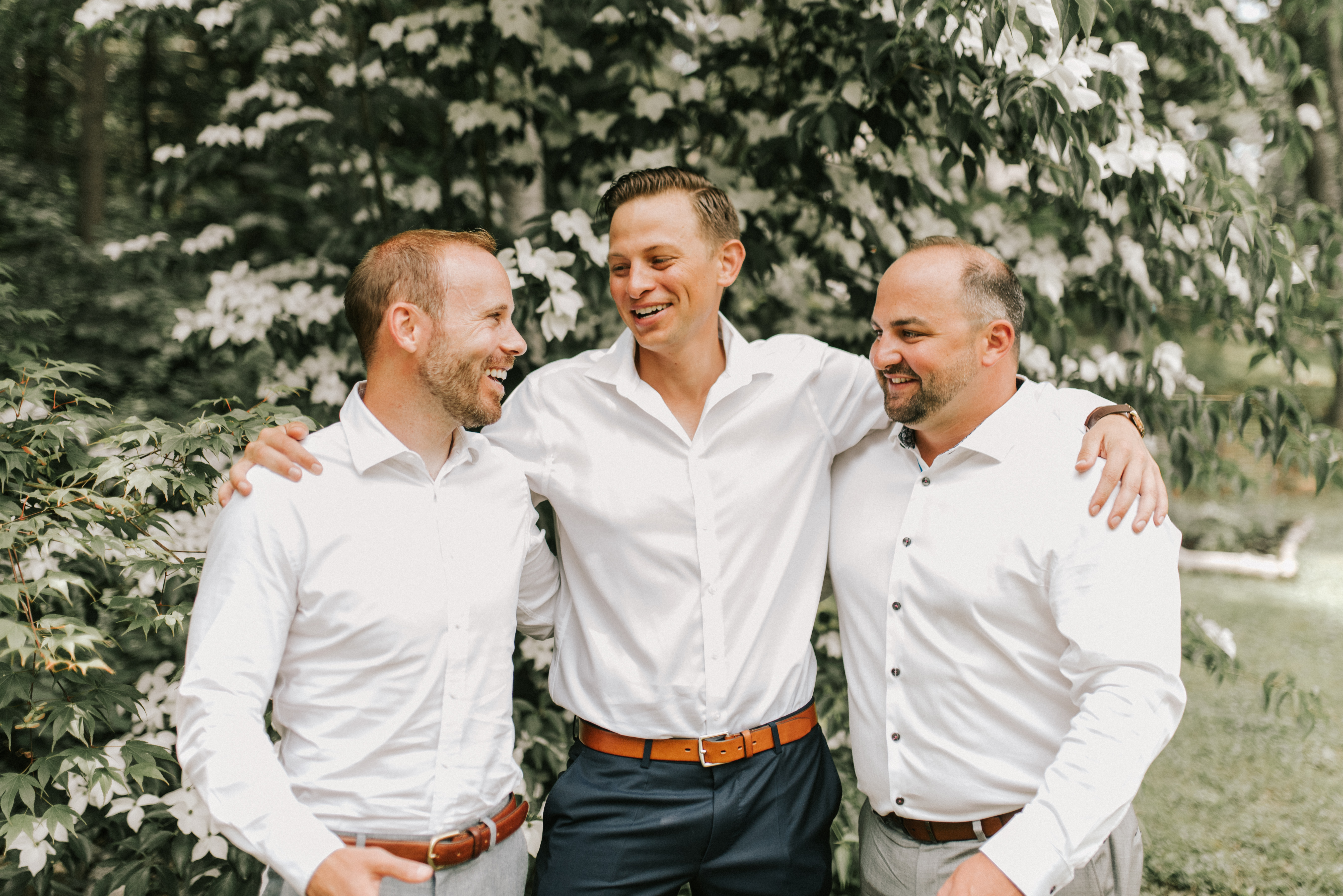 Groom and groomsmen outside at Hidden Pond in Kennebunkport, Maine