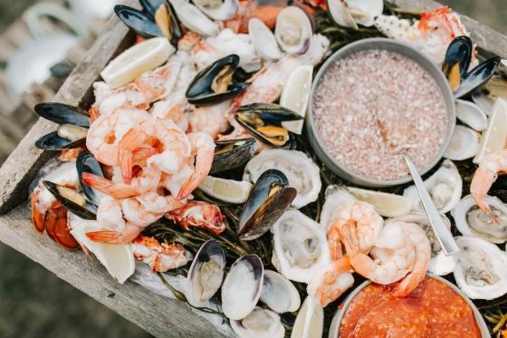Seafood appetizer at Hidden Pond wedding in Kennebunkport, Maine