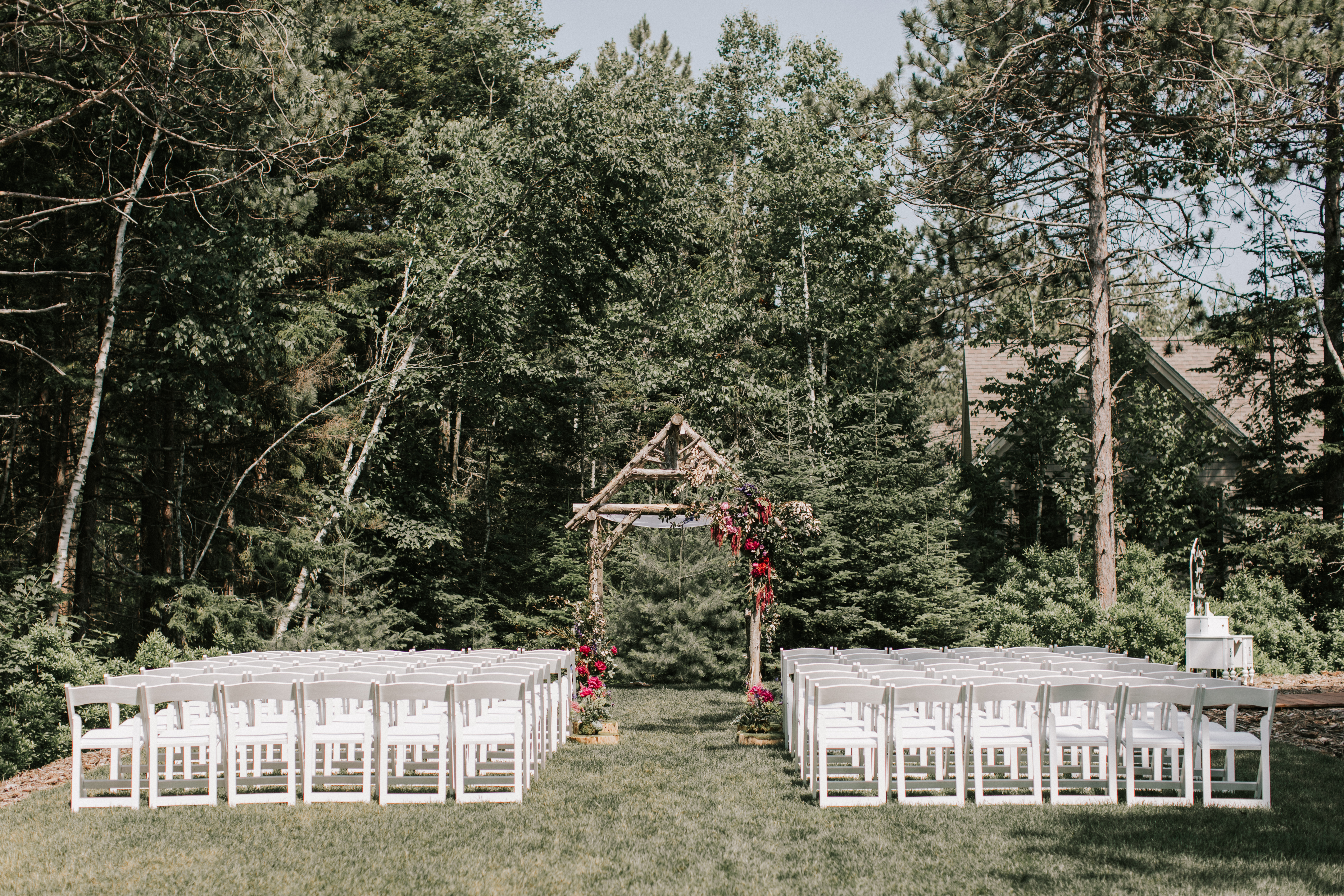 Ceremony set-up at  Hidden Pond wedding in Kennebunkport, Maine