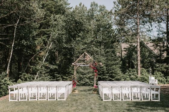 Ceremony set-up at  Hidden Pond wedding in Kennebunkport, Maine