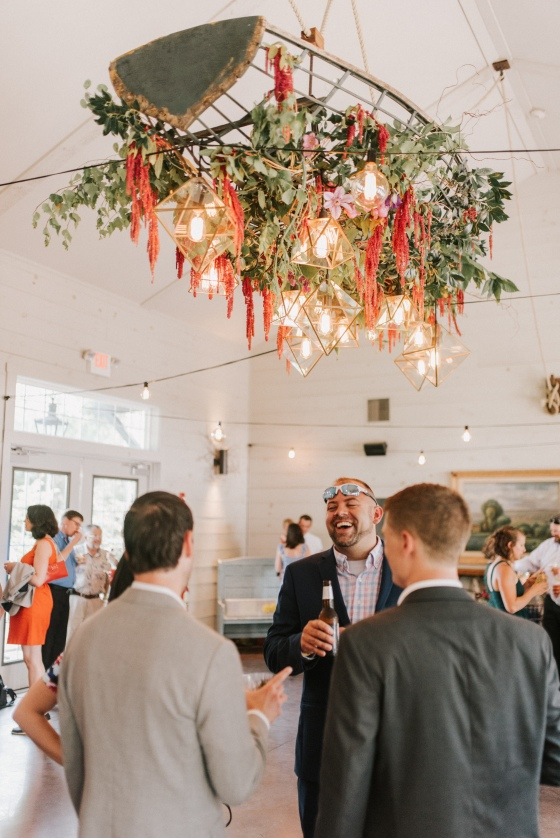 Griffin + Griffin light install at Hidden Pond wedding in Kennebunkport, Maine