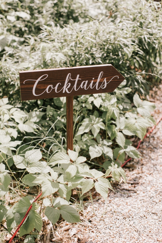 Cocktail sign for Maine wedding rentals