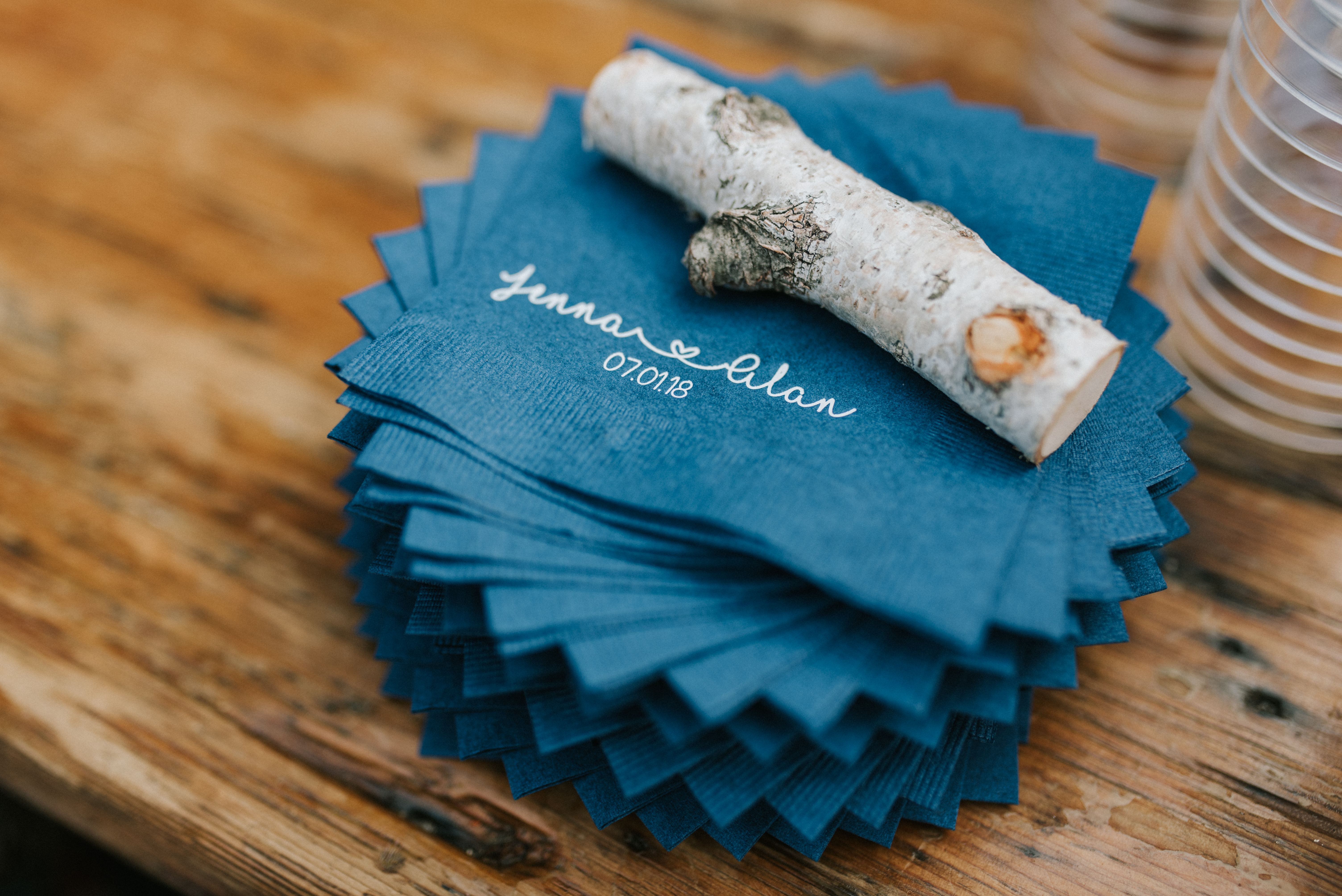 Custom cocktail napkins Hidden Pond wedding in Kennebunkport, Maine