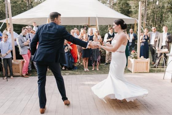 Bride and Groom dancing at Hidden Pond Wedding in Kennebunkport, Maine