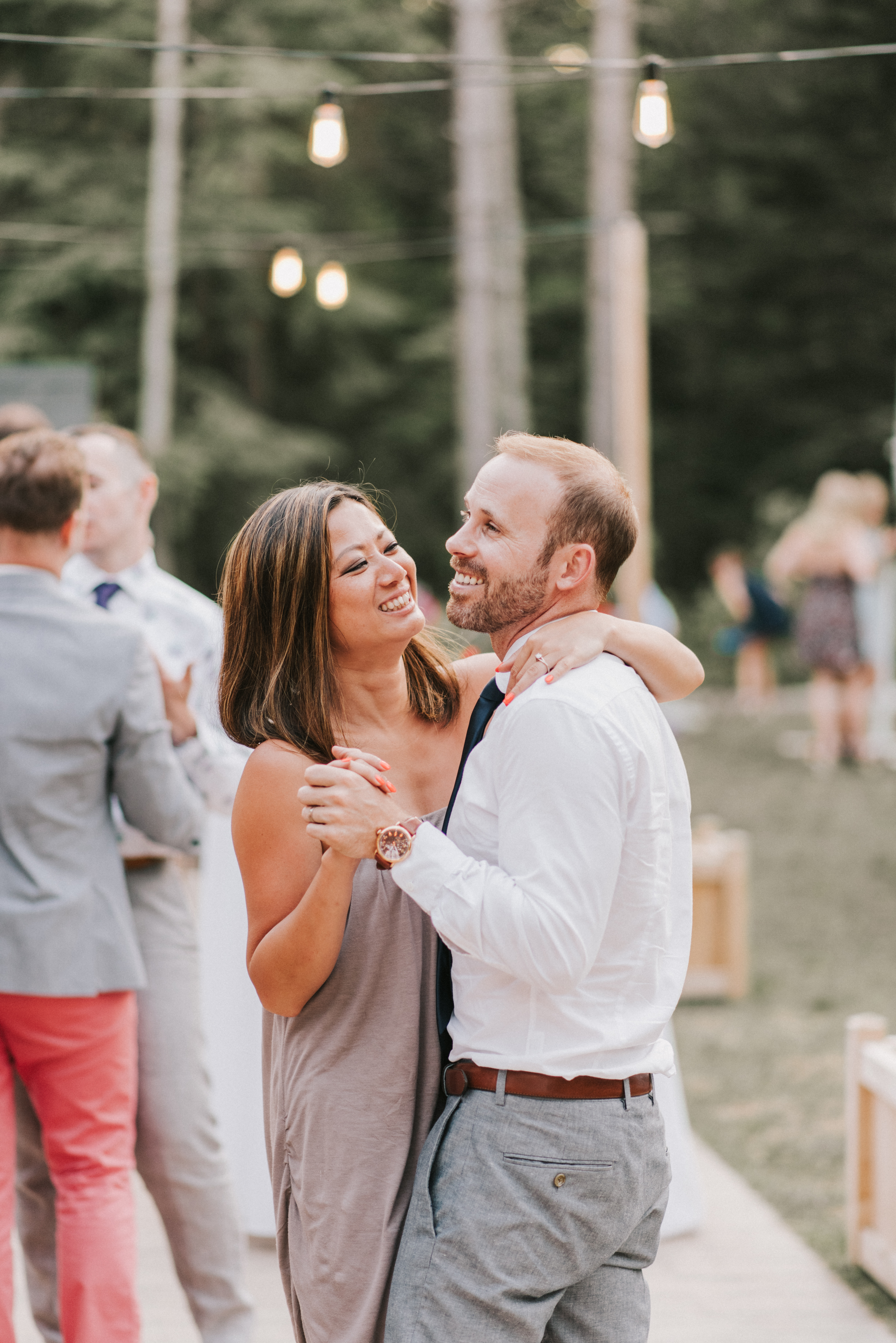 Guests dancing at Hidden Pond Wedding in Kennebunkport, Maine