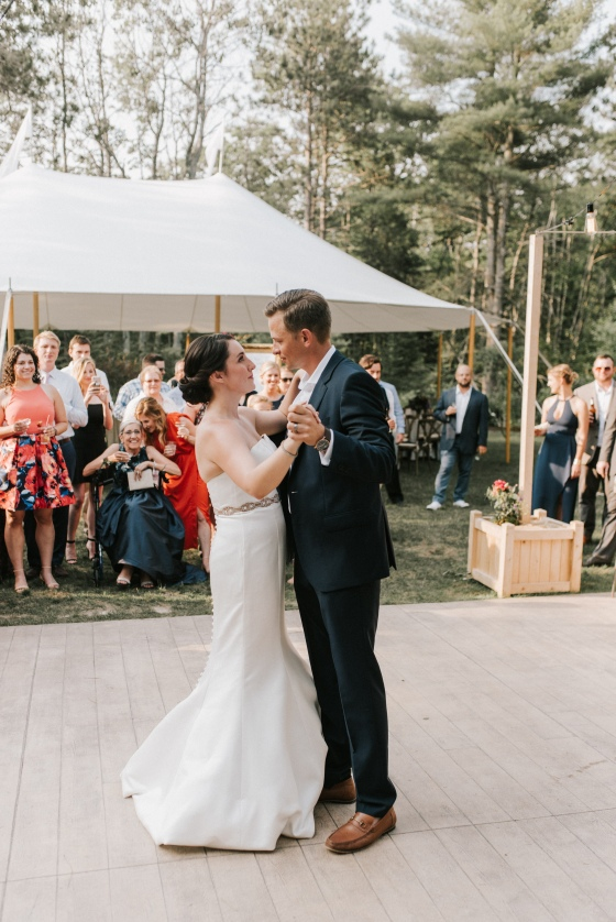 Bride and Groom first dance at Hidden Pond Wedding in Kennebunkport, Maine
