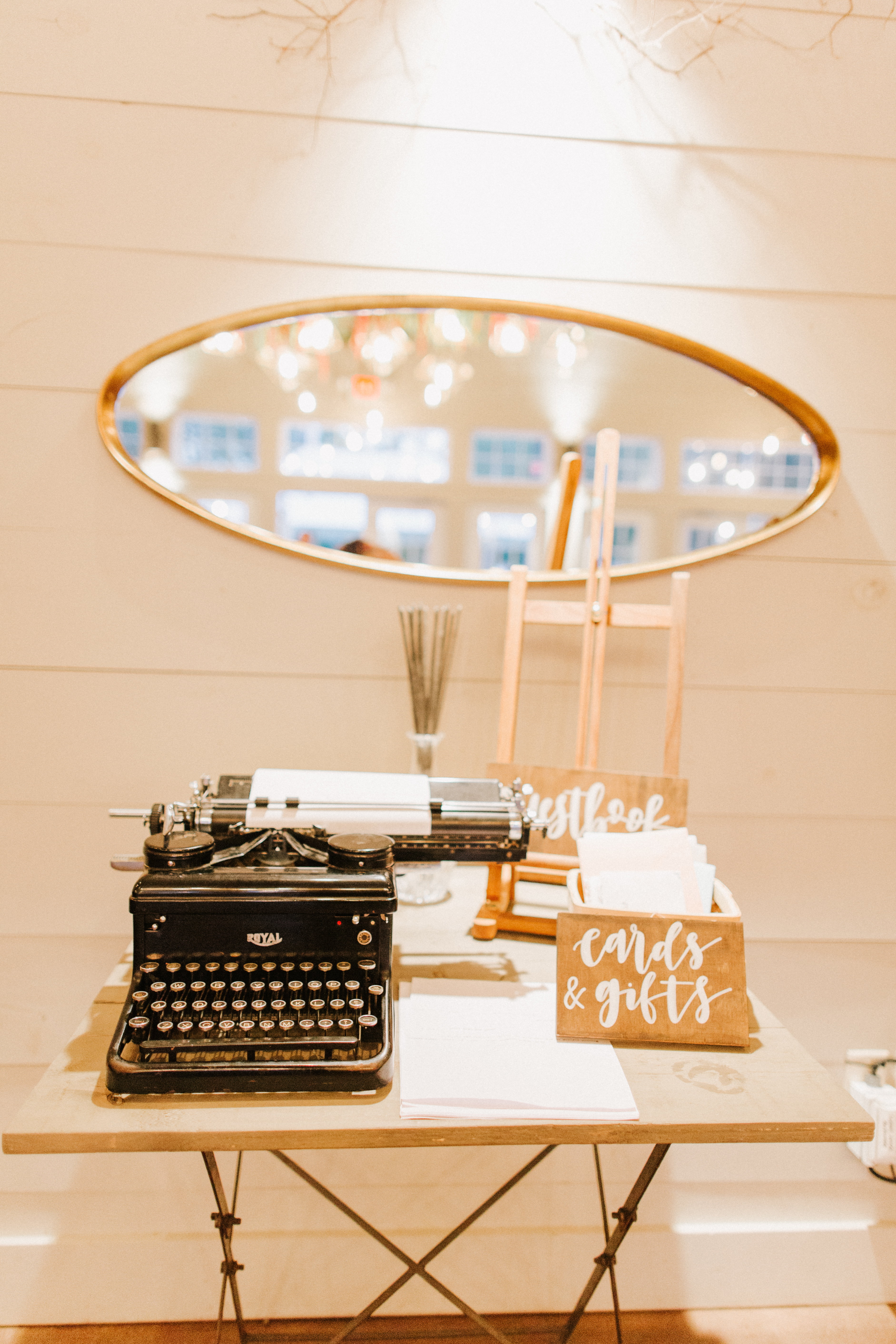 Guestbook with vintage typewriter at at Hidden Pond Wedding in Kennebunkport, Maine