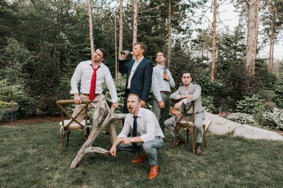 Groom and friends at Hidden Pond Wedding in Kennebunkport, Maine
