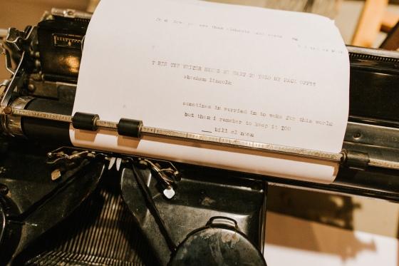 Antique typewriter at Hidden Pond Wedding in Kennebunkport, Maine