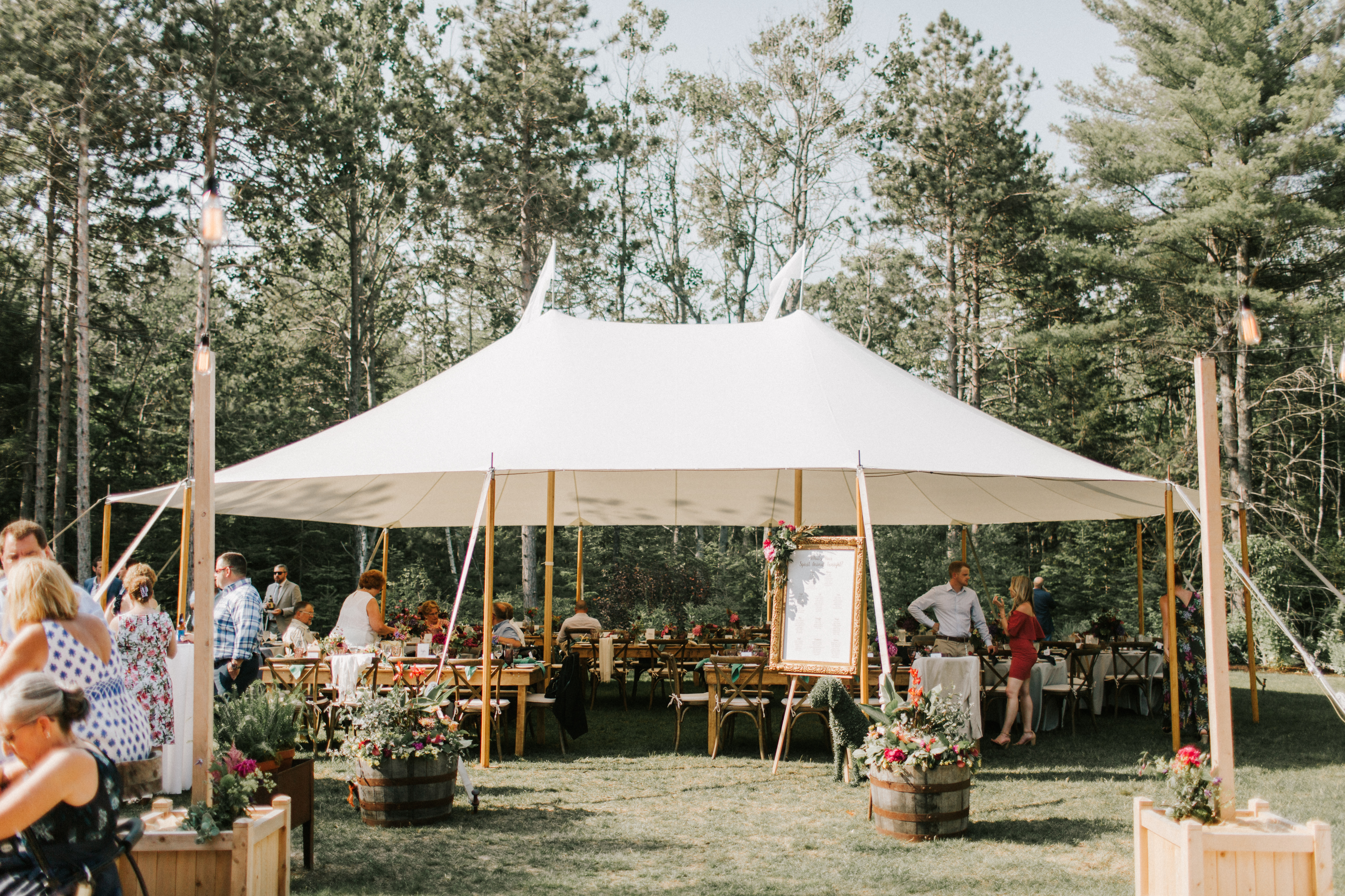 Reception tent at Hidden Pond Wedding in Kennebunkport, Maine