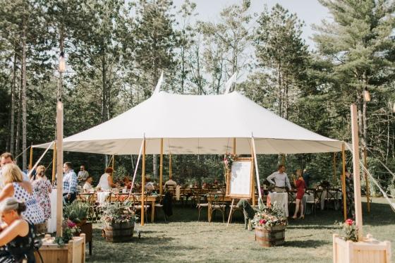 Reception tent at Hidden Pond Wedding in Kennebunkport, Maine