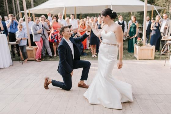 Bride at Groom first dance at Hidden Pond Wedding in Kennebunkport, Maine