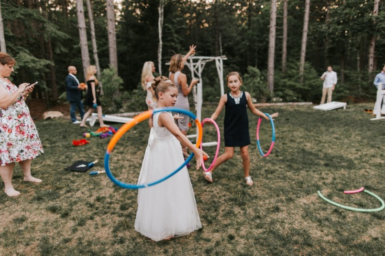 Kids playing at Hidden Pond Wedding in Kennebunkport, Maine