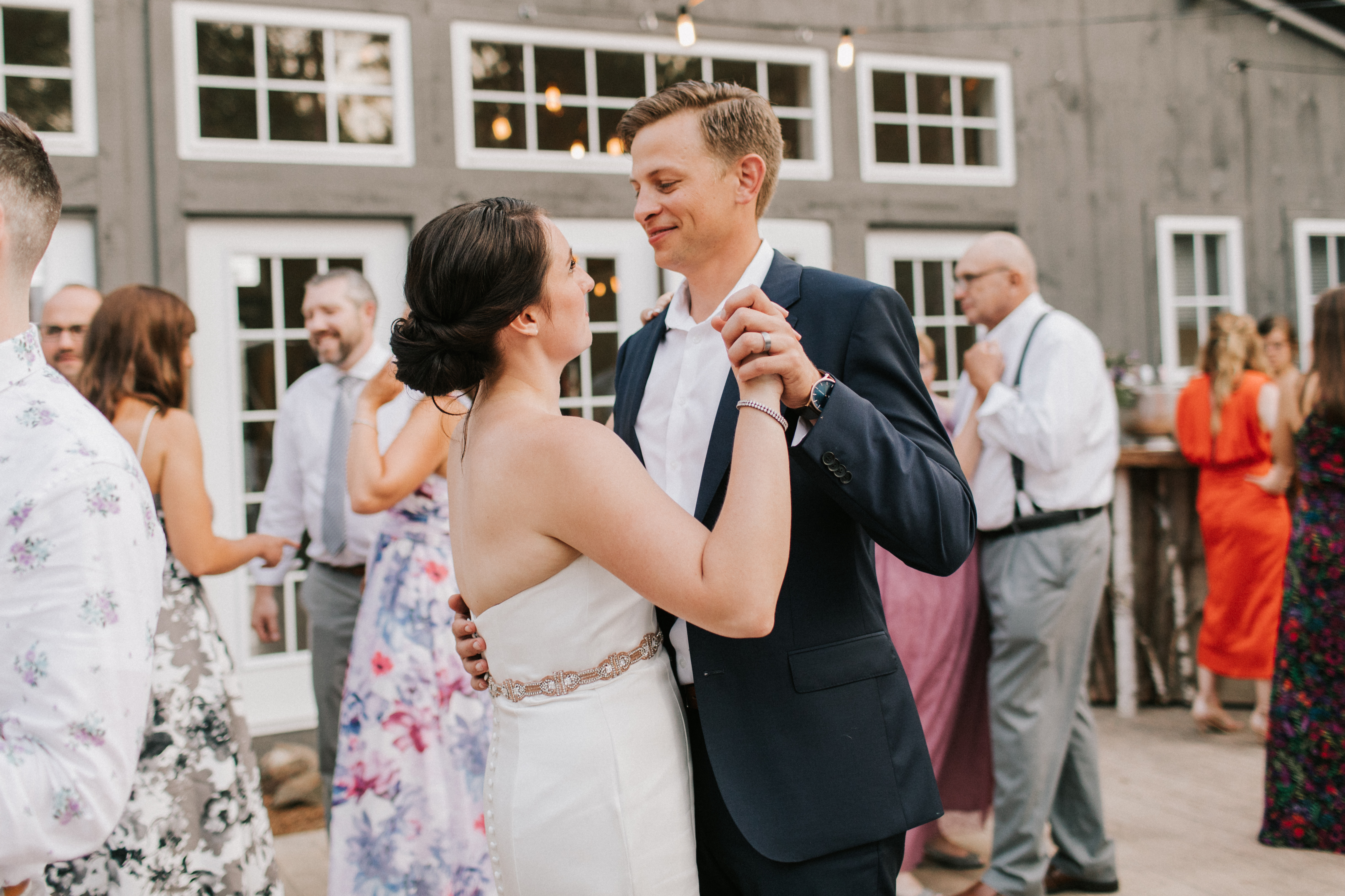Bride and Groom dancing at Hidden Pond Wedding in Kennebunkport, Maine
