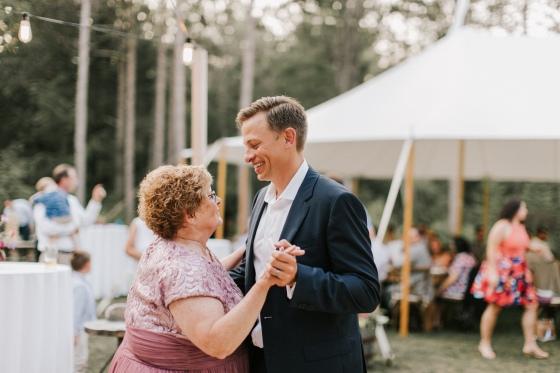 Mother-Son dance at Hidden Pond Wedding in Kennebunkport, Maine
