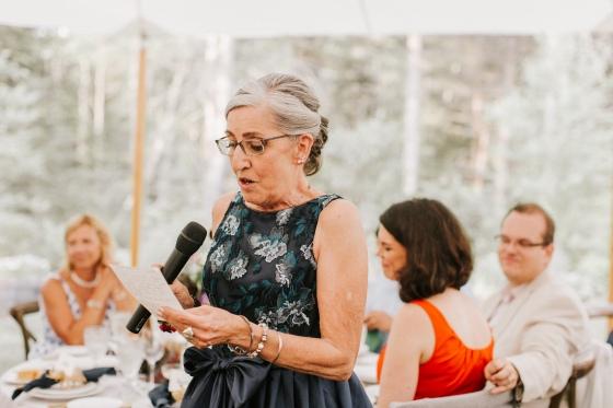 Mother of the Bride speech at Hidden Pond Wedding in Kennebunkport, Maine