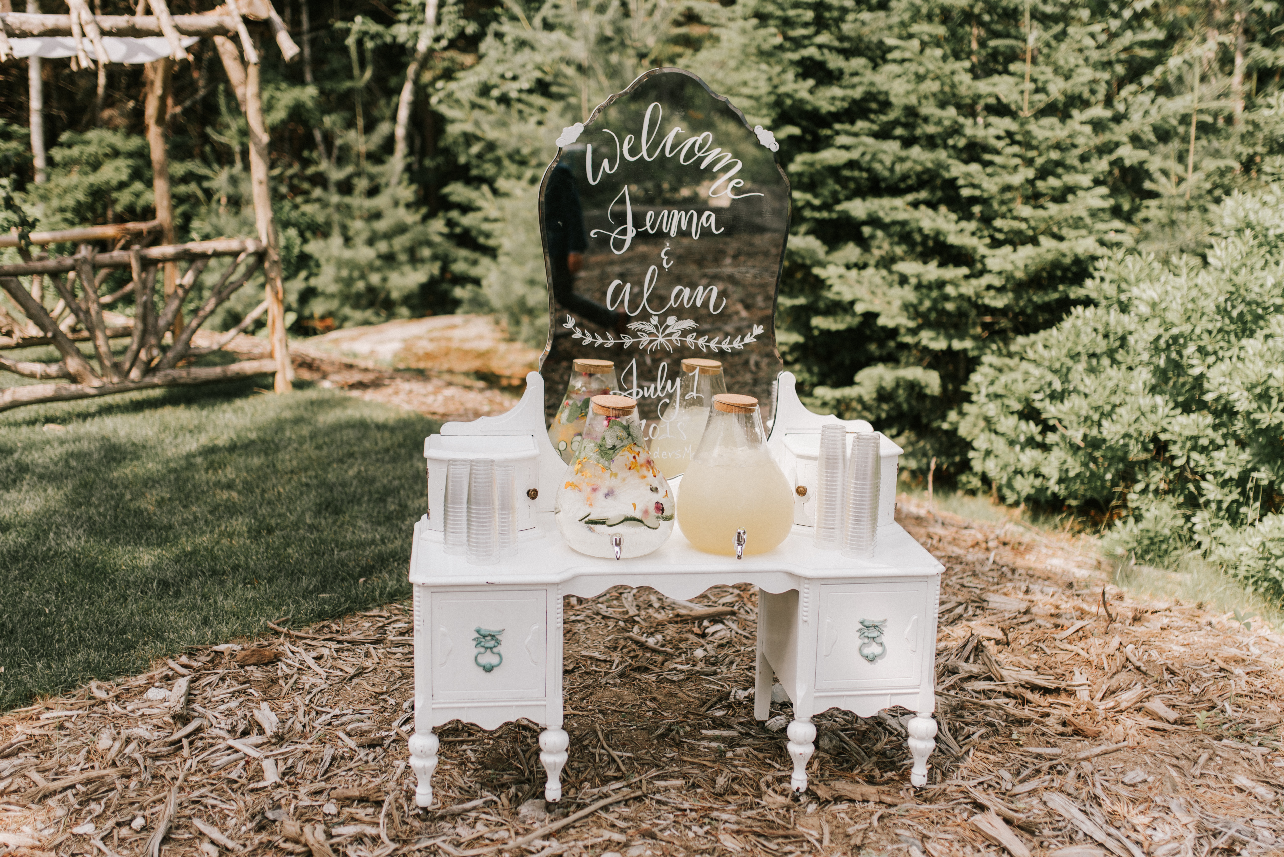 Pre-ceremony beverage display with A Family Affair of Maine rentals at Hidden Pond wedding in Kennebunkport, Maine