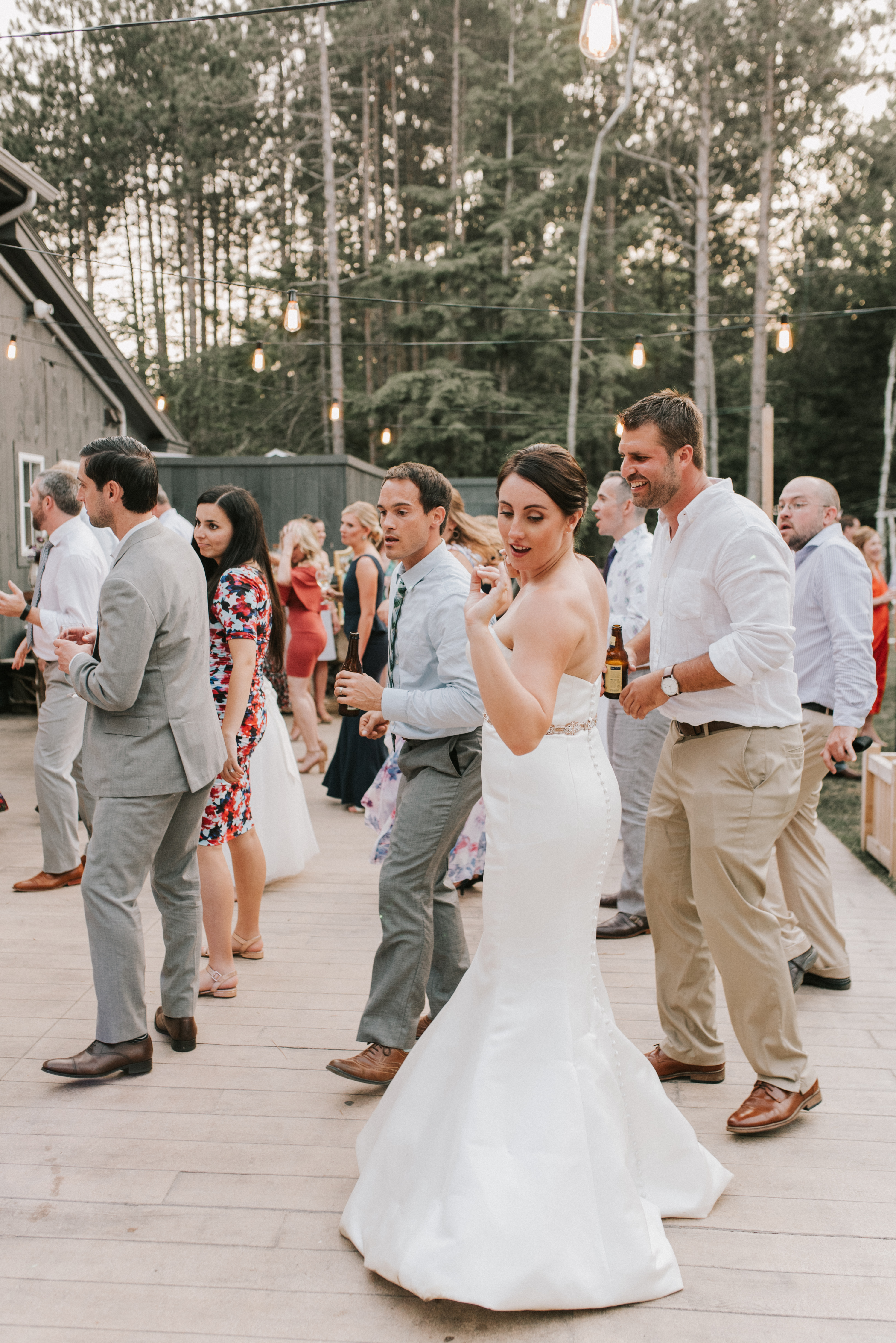 Wedding guests dancing at at Hidden Pond Wedding in Kennebunkport, Maine