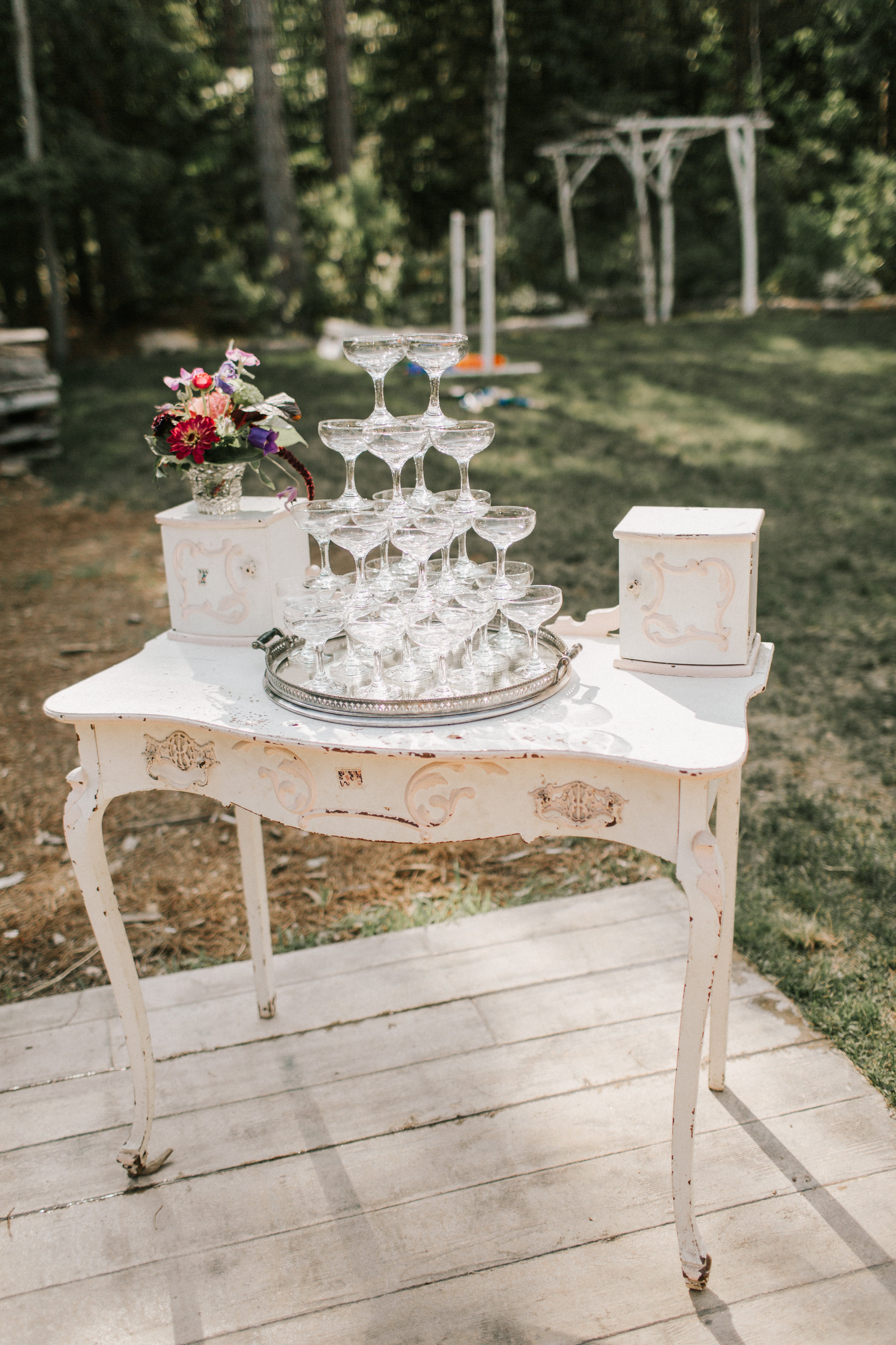 Champagne tower at Hidden Pond Wedding in Kennebunkport, Maine