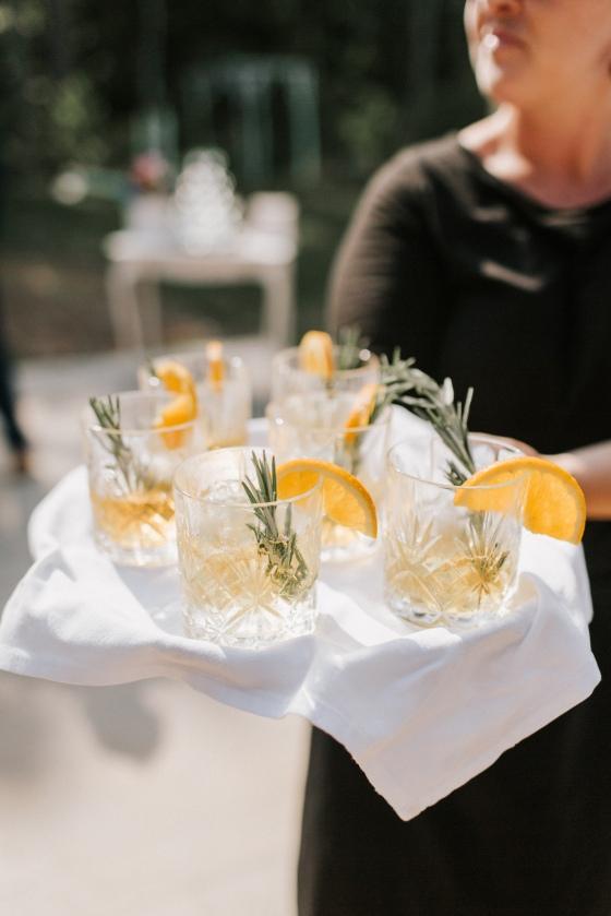 Signature drinks at Hidden Pond wedding in Kennebunkport, Maine