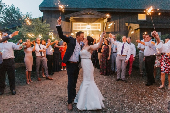 Sparkler exit at Hidden Pond Wedding in Kennebunkport, Maine