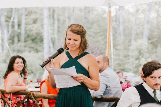 Maid of Honor speech at Hidden Pond Wedding in Kennebunkport, Maine