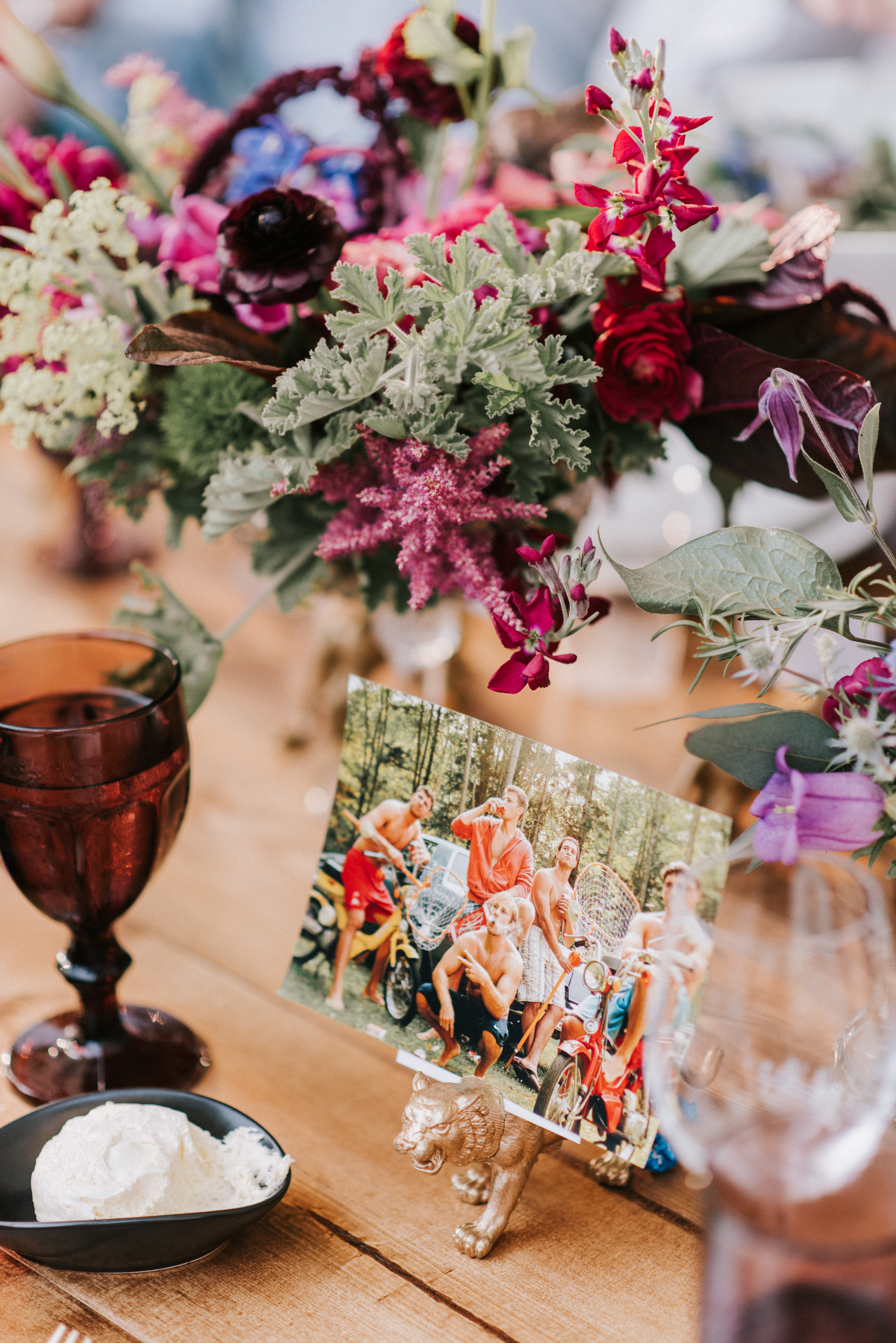 Tablescape details at Hidden Pond Wedding in Kennebunkport, Maine