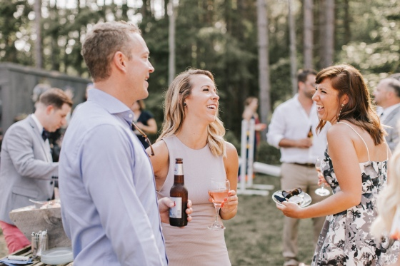 Guests at Hidden Pond wedding planned by A Family Affair of Maine