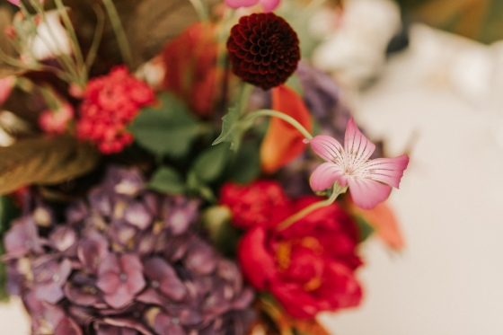 Bright florals from Snell Family Farm at Hidden Pond wedding