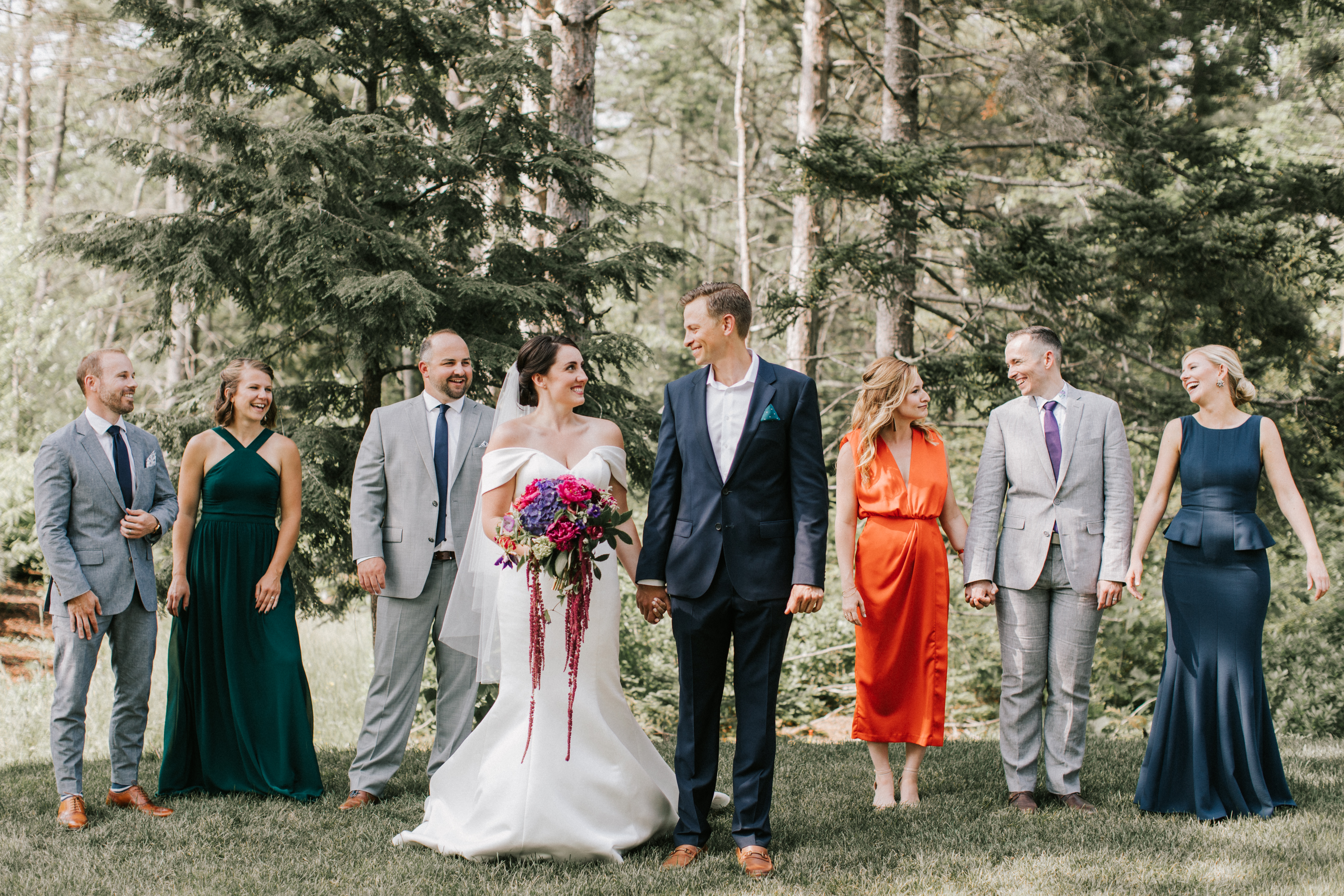 Wedding party at Hidden Pond in Kennebunkport, Maine